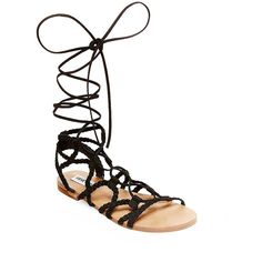 Steve Madden Swyvel Gladiator Sandals ($79) ❤ liked on Polyvore featuring shoes, sandals, black, black sandals, roman sandals, gladiator sandals, gladiator sandals shoes and steve-madden shoes