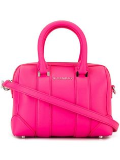 Neon pink calf leather micro 'Lucrezia' tote from Givenchy featuring round top handles, a detachable shoulder strap, silver-tone hardware, a front logo plaque, a top zip closure, an internal logo plaque and an internal patch pocket. Size: OS. Color: Pink/purple. Gender: Female. Material: Calf Leather.