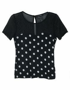 Black Polka Dot Short Sleeve Bustier Patched Tulle T-shirt