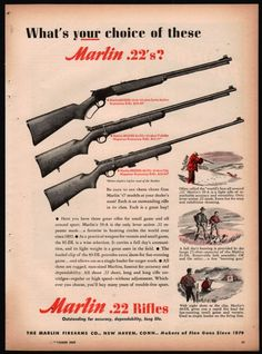 1947 MARLIN Model 39-A, 81-DL, 80-DL Rifle AD Vintage Gun Hunting Advertising http://riflescopescenter.com/rifle-scope-reviews/