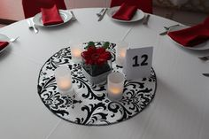 """TABLE ROUND  for Centerpieces Traditions damask table rounds Black on White 20"""". $9.50, via Etsy."""