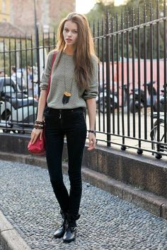 vogue-flair:  thesoulofmacushla:  Fashion trend: jumper, black jeans and biker shoes   message me if you're 100% street style, need more blo...