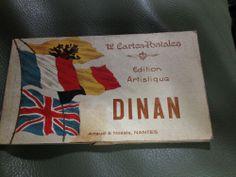 Antique EARLY 1900 WW1 era DINAN souvenir book of 12 FRENCH POSTCARDS rare new