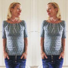 Es muss ja nicht immer gleich ein Kleid sein - Muriel eignet sich auch wunderbar als Shirt.  #nähenmachtglücklich #lillestoff #muriel aus #nähdirdeinkleid von #rosa_und_das_einfache_leben #rosap #sewing #sewingforme #memade #selbstgemacht #diy #maiundmeer