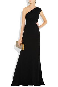 Ralph Lauren crepe one-shoulder gown. Someone invite me to a black tie event so I can wear this.