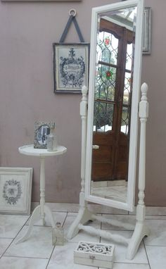 Cheval Floor Standing Mirror Shabby Chic by ArthouseAttic on Etsy House Of Mirrors, Home Decor Mirrors, Wall Mirrors, Diy Wall Decor For Bedroom, Cute Room Decor, Mirror Makeover, Diy Mirror, Mirror Ideas, Stand Up Mirror