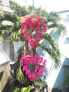 Pink Color with douple heart Seashell wind chimes