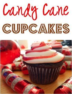 Candy Cane Cupcakes Recipe!  {these tasty little treats are the perfect, festive addition to your Christmas parties! #cupcake #recipes