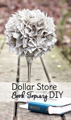 Dollar Tree Crafts – Dollar Store Book Topiary DIY – DIY Ideas and Crafts Projects From Dollar Tree Stores – Easy Organizing Project Tutorials and Home Decorations- Cheap Crafts to Make and Sell Dollar Tree Decor, Dollar Tree Crafts, Dollar Tree Store, Dollar Stores, Dollar Dollar, Decoration Birthday, Decoration Bedroom, Room Decor, Diy Unicorn