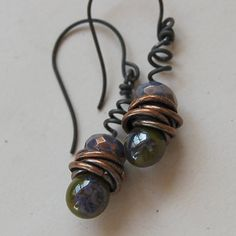 Olive Lampwork and Squiggly Wire Earrings by Pobbletoes on Etsy, $28.00