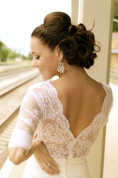 braided updo and lace back