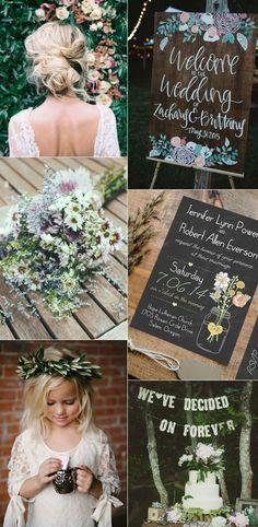 boho rustic wedding invitations mason jars heart chalkboard