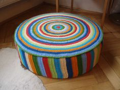 Crochet striped pouf