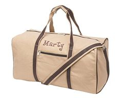 Personalized Mens Cotton Canvas Khaki Travel Duffel 21 Inch *** Be sure to check out this awesome product.