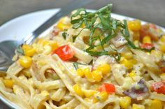 Creamy Corn Chowder Pasta- Full of summery goodness! Can be vegetarian if you cut out the bacon!