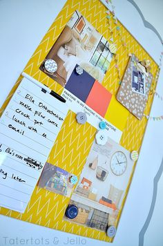 DIY Magnetic Inspiration Board Using Riley Blake Fabric -- Tatertots and Jello