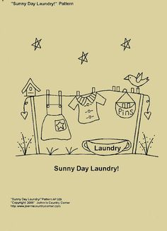 Primitive Stitchery E-Pattern, Sunny Day Laundry!