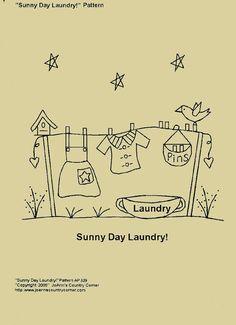 Stitchery primitivo-patrón soleado día lavandería