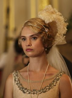 Lily James as Lady Rose MacClare in Downton Abbey Series 4 Christmas Special (2013).