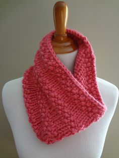 Knit Bubblegum Cowl! - Quick to knit in a day or two.  Lion Brand yarn.