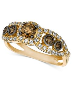 Le Vian 14k Gold Ring, Chocolate and White Diamond Ring (7/8 ct. t.w.) - Rings - Jewelry & Watches - Macy's