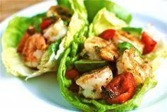 Spicy shrimp and avacado lettuce wraps