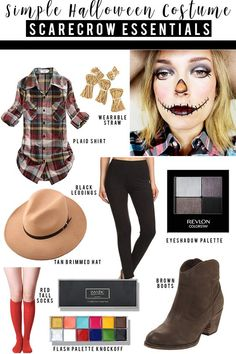 Simple adult scarecrow halloween costume and makeup look to try. Find almost eve. - Emma Lee home Scarecrow Halloween Makeup, Quick Halloween Costumes, Halloween Costumes Scarecrow, Hallowen Costume, Halloween Makeup Looks, Costume Ideas, Scary Halloween, Scare Crow Costume Diy, Halloween Outfits