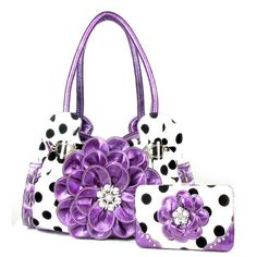 Handbags, Bling & More! Polka Dot Purple Flower Rhinestone Purse W Matching Wallet : Matching Sets