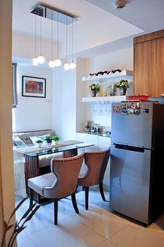 5 Compact Yet Charming Condo Dining Nooks Condo Interior Design, Interior Decorating, Condominium Interior, Dining Nook, Open Shelving, Shelves, Living Styles, Home And Living, Light Fixtures