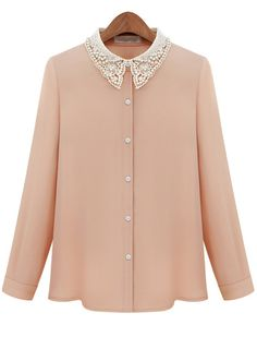 Pink Contrast Hollow Lapel Bead Chiffon Blouse 13.67