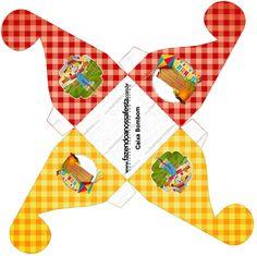 Caixa bombom Kit Festa Junina Vermelho e Amarelo