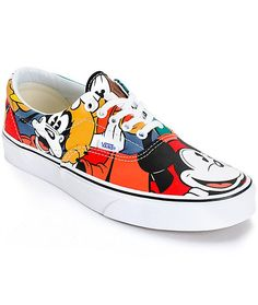 Get an iconic style from a magical collaboration featuring an all over Mickey Mouse and friends multicolor graphic print on a canvas upper.