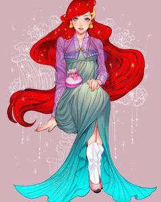 Korean Disney Princesses Fan Art Arte Disney, Disney Fan Art, Disney Love, Disney And Dreamworks, Disney Pixar, Disney Characters, Disney Princesses, Disney Specials, Disney Princess Fashion
