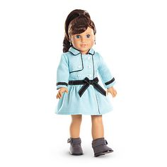 American Girl® Clothing: Grace's Travel Coat for Dolls When the seasons start to turn, on-the-go Grace is ready with this stylish blue button-up trench coat. It has black ribbon accents and a bow at the waist. American Girl Outfits, American Girl Doll 2015, Ropa American Girl, American Dolls, Girl Doll Clothes, Girl Dolls, Girl Clothing, Barbie Dolls, Shopkins
