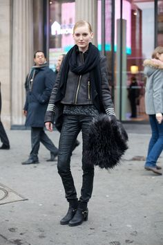 Total black. Street Style from Paris Haute Couture Spring Summer 2013