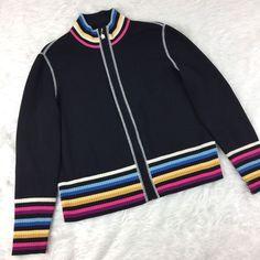 St John Sport by Marie Gray Womens Size Large Black Knit Sweater Zip Up Jacket   | eBay