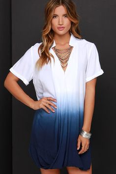 Take a Dip Ivory and Blue Dip-Dye Dress