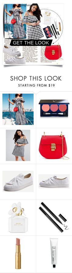 """""""get the look"""" by katyst ❤ liked on Polyvore featuring Vapour, Influence, Chloé, Marc Jacobs, Too Faced Cosmetics, L:A Bruket, GetTheLook, summerstyle, gingham and redbag"""