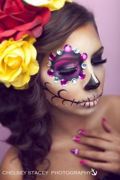 Sugar Skull Makeup Half Face | Sugar Skull Makeup by Starrly Gladue Chelsey Stacey Photography