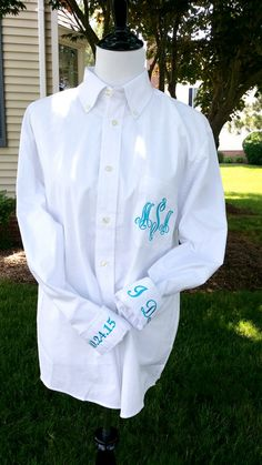 Monogrammed Bridal Shirt For Wedding Day by HeatherStrickland Bridal Shirts, Wedding Shirts, Wedding Dresses, Blue Wedding, Trendy Wedding, Grey Wedding Invitations, Wedding Ceremony Backdrop, Wedding Day Timeline, Cool Wedding Cakes