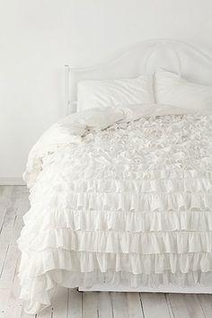 Waterfall Ruffle Duvet Cover in White