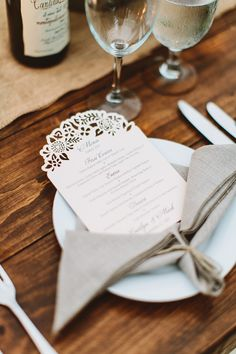 laser cut wedding menus with cute cut outs