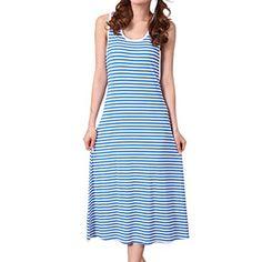 4c74a2cf14 LAPAYA Women s Stripe Tank Dress Summer Sleepwear Sleevel... http   www