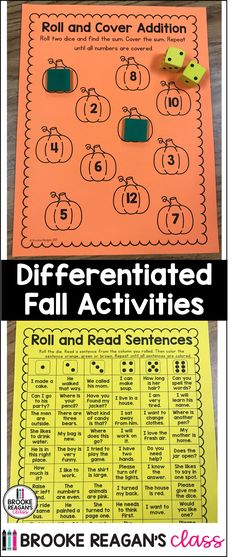 Fall Math and Literacy Activities Differentiated for a Special Education Classroom. Autumn Activities, Literacy Activities, Special Education Classroom, Differentiation, Math, Reading, Math Resources, Word Reading, Early Math