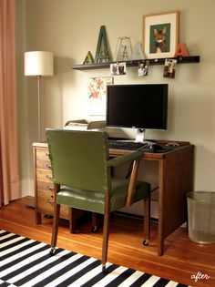 Love that desk chair.   Think about a ledge shelf over my table to replicate that element.