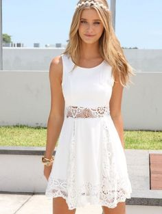 Lacey white summer dress for juniors 2015 with see through waist
