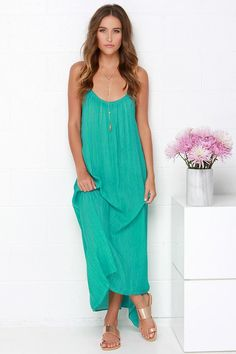 Windswept Wanderer Washed Sea Green Maxi Dress