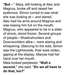 City of Glass Malec!!! Dang it come back Malec!
