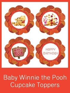 1st Birthday Winnie the Pooh Cupcake Toppers - FREE PDF Download