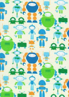 cute bots in blue, i heart by rashida coleman-hale, timeless treasures, 1 yard $8.50, etsy shop fabric closet, cut fabric for baby shower gifts